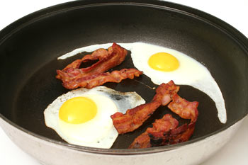 Bacon and Eggs in a Pan